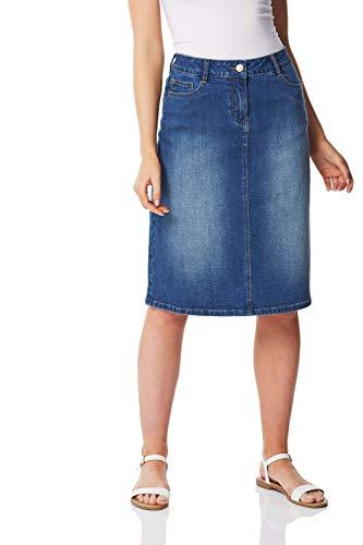 Roman Originals Femme Jupe en Jean Denim Retro - Vintage 60s Confortable Coton Longueur Genoux...