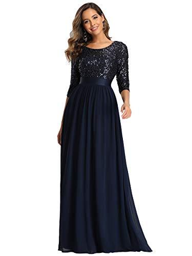 Ever-Pretty Robe de Soirée Femme Longue Empire à Paillettes Élastique Mousseline Fluide Bleu...