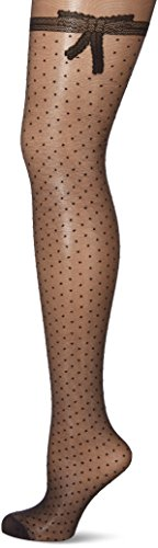 Dim Dim Sexy Nœud Denierstelle Collants Femme, 20 Deniers, Noir (Noir), Large (Taille fabricant: 3/4)