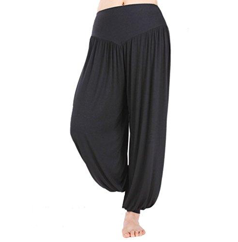 Hoerev super doux spandex modal pantalon harem yoga / pilates, Noir, X-Large