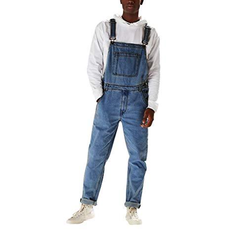 Salopette Homme Jean Slim Fashion Grande Taille Jumpsuit en Denim Pas Cher Vintage Pantalon Jeans Collant à Bretelles Streetwear (XL, Bleu)