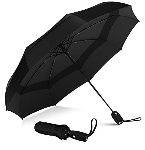 Repel Umbrella - Parapluie pliant automatique - Compact, petit, coupe-vent, solide - pour hommes, femmes et adolescents (noir)