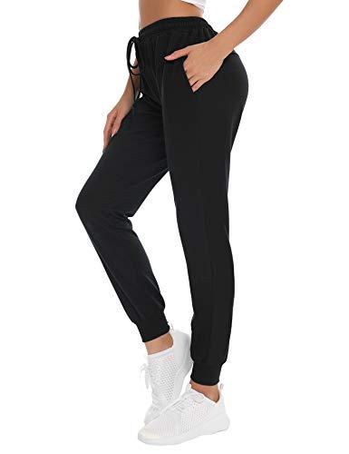 NewPI Pantalon de Jogging Femmes Pantalon Coton Décontracté pour Yoga Stripe Pantalon décontracté Pantalon d'entraînement Fitness Taille Haute Long Pantalon de Training,S,Noir