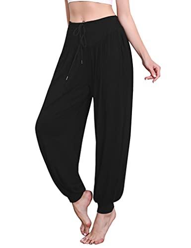 Sykooria Pantalon Sarouel Femme pour Pilate Hippie Yoga Fitness Danse Sport Taille Haute Bouffant Pants,Noir,XL prix et achat