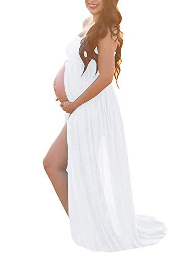 BUOYDM Femme Enceinte Robe en Maternité Mousseline Sexy Grossesse Bandeau Robe pour Maternité Photo Shoot pour Plage Wedding Cocktails Soirée (Taille Unique, D-Blanc 4) prix et achat