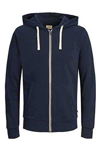 JACK & JONES Jjeholmen Sweat Zip Hood Noos Veste, Bleu (Navy Blazer Fit:Reg Fit), X-Large Homme