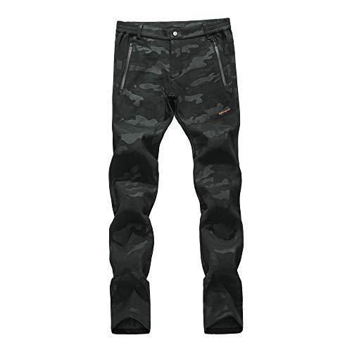 LY4U Femmes Softshell doublé Polaire Pantalon de randonnée extérieur résistant à l'eau...