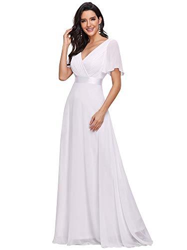 Ever-Pretty Robe de Soirée Longue Femme Col V Manches Courtes 40 Blanc