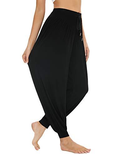 Sykooria Pantalon Sarouel Femme pour Pilate Hippie Yoga Fitness Danse Sport Taille Haute Bouffant Pants,Noir,L
