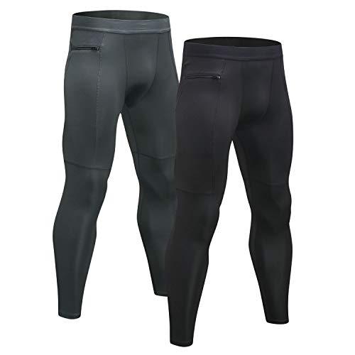 Niksa 2 Pièces Legging Sport Homme Collant Running Fitness Pantalon de Compression Noir Gris L