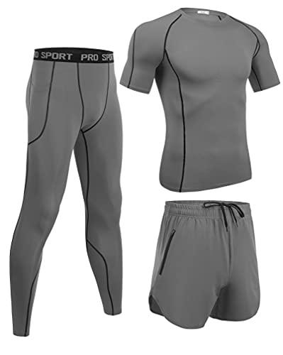 Wayleb Ensemble Compression Homme Tenue Sport Fitness Maillot Serré Tee Shirt Compression Legging Pantalon Jogging Vêtement Running 3 Pièces,Small+Gris