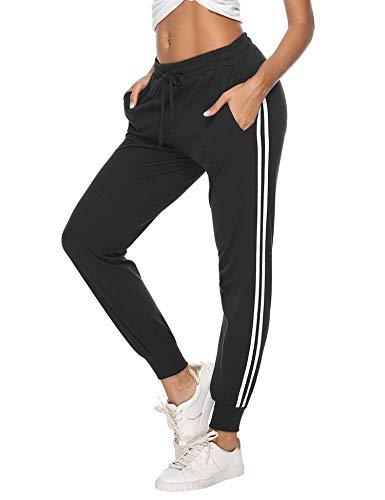 Hawiton Pantalon de Sport Femme 100% Coton Stripe Pantalon décontracté Pantalon de Jogging...