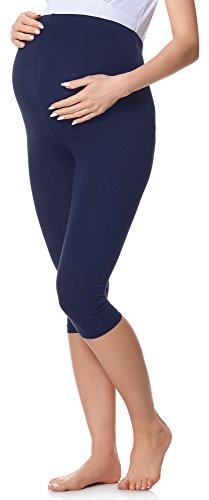 Be Mammy Legging 3/4 Pantacourt Pantalon Grossesse Maternité BE20-229(Bleu Marine, XXL)