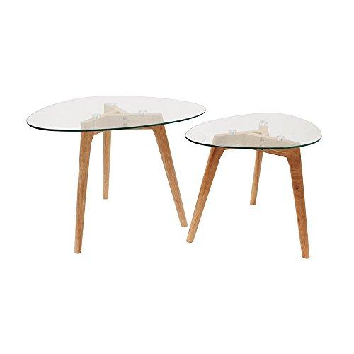 THE HOME DECO FACTORY HD3212 Tables Gigognes Verre Trempe Transparent Resistant Galet Bois Deco Moderne Salon, 60 x 45 x 43 cm