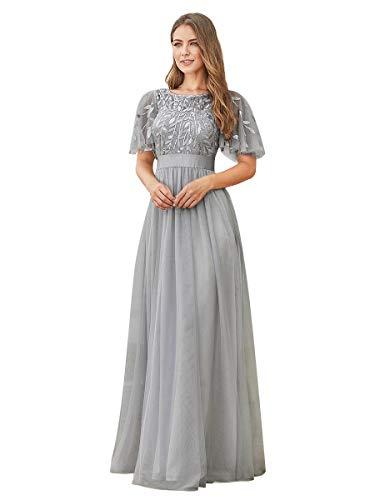Ever-Pretty Robe de Demoiselle d'honneur Col Rond Manches Courtes Taille Empire A-Line Tulle Longue pour Soirée Bal Gala Femme Gris 44