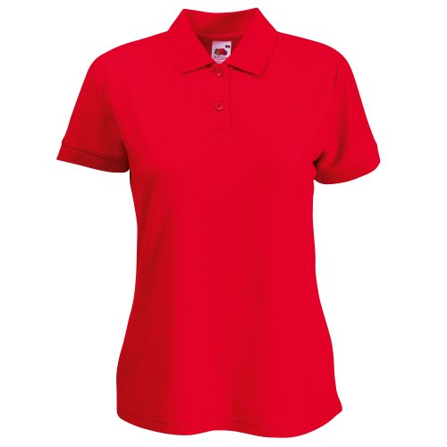 Fruit of the Loom Polo à manches courtes pour femme 65% polyester/35% coton - Rouge -...