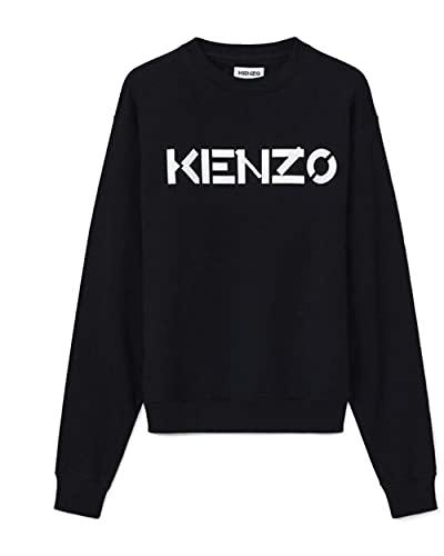 Sweat Kenzo Homme Noir Logo Blanc 100% Coton (Coupe Regular - Taille Petit) (S)