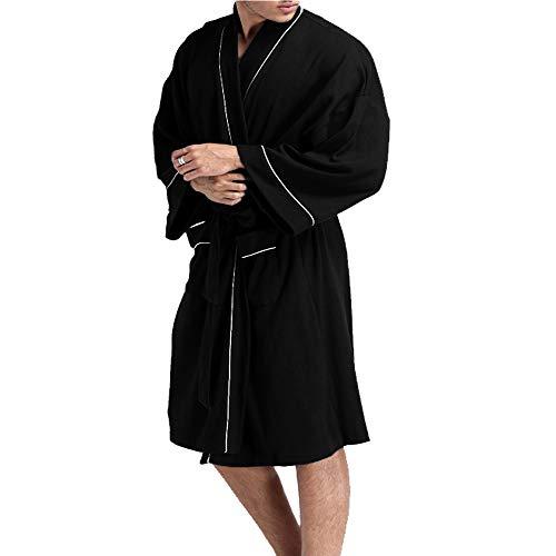 BESIDE STAR Robe de Chambre pour Homme élégante et de Haute qualité avec Motif élégant,M,noir
