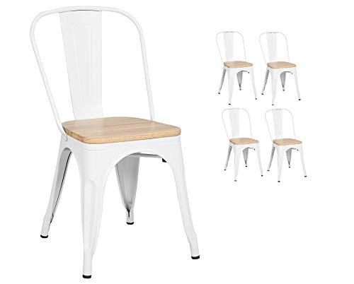Kosmi - Lot de 4 Chaises Blanches en métal et Bois Clair Style Industriel Factory en métal Blanc Mat et Assise en Bois Clair