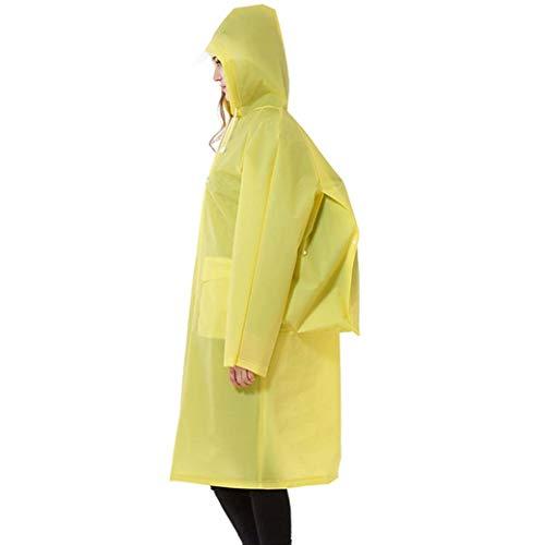 Ransparent Raincoat Visite Imperméable Manteau Zipper Pluie Capuche Femme Sac À Dos Homme/Femme Raincoat Cartable Abrigo Mujer (Color : Yellow, Size : L)