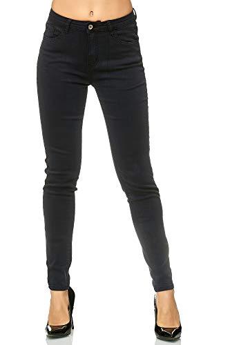 Elara Pantalon Femmes Elastique Jeans Skinny Chunkyrayan G09 Black 46 (3XL)