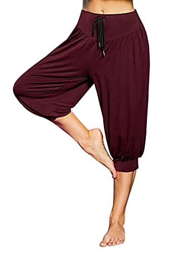 Sykooria Pantalon Short Sarouel Femme Pantacourt d'Été Ample Yoga pour Pilate Hippie Yoga Fitness Danse Sport Taille Haute Bouffant Pants