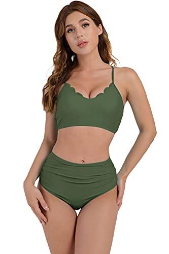 Tuopuda Femme Maillots de Bain 2 Pieces Bikini Vintage Taille Haute Volants Couleur Unie Swimwear De Plage Bikini de Plage(Vert, XXL)