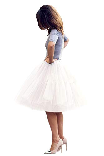 Babyonlinedress Femme Jupon Rétro Style année 50 Vintage en Tulle Audrey Hepburn Rockabilly Petticoat Tutu-18 Couleurs, Blanc, Taille unique
