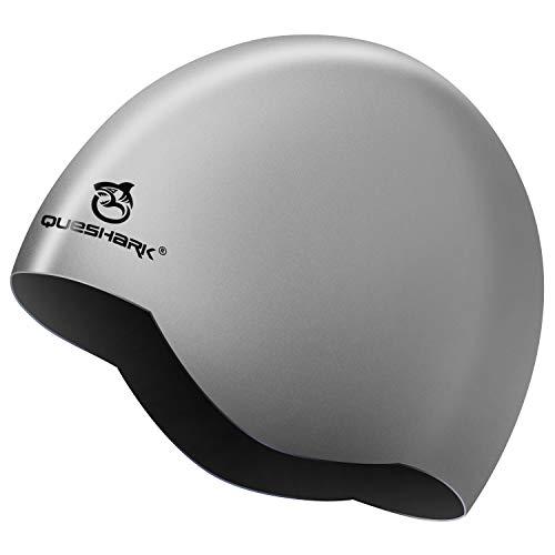 Queshark Bonnet de Bain 2 en 1 en Silicone de qualité supérieure - Réversible - Portez-Le...
