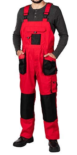 Mazalat Salopette de travail pour homme, avec poches genouillères, de taille S à XXXL, noire, de qualité supérieure - Rouge -