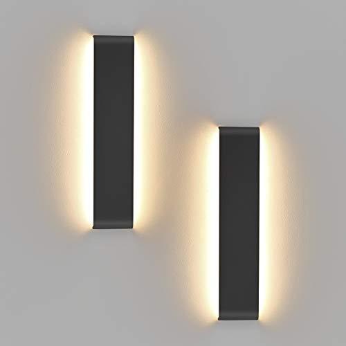 KLighten 14W Applique Lampe de Salle de Bain,Pack de 2,LED Mural Blanc Chaud 2700-3200K Miroir Murale Light Applique Lampe Pour Salle de Bain Miroir/Miroir Maquillage/Chambre/Corridor,Noir