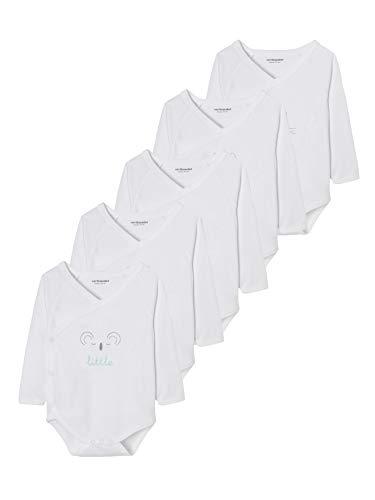 Vertbaudet Lot de 5 Bodies bébé Naissance Pur Coton imprimé Graphique Manches Longues Blanc...