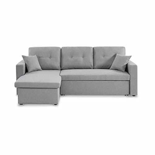 Canapé d'angle Convertible en Tissu Gris Clair - IDA - 3 Places. Fauteuil d'angle réversible Coffre Rangement lit modulable