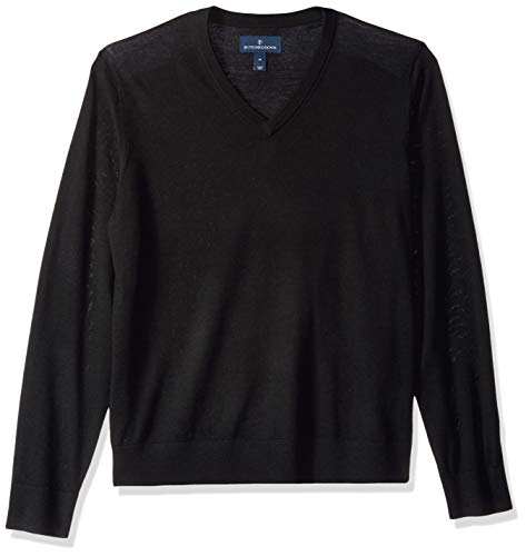 Marque Amazon – BUTTONED DOWN Pull léger en laine mérinos italienne avec col en V pour homme, Noir (Black Bla), US L (EU L) prix et achat