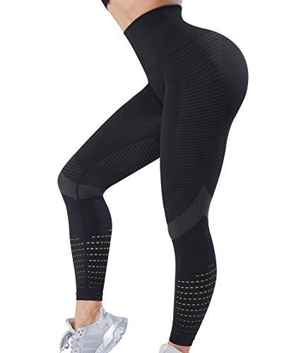 OUTUOSI Legging de Sport Femme Legging Push Up - Legging Anti Cellulite sans Couture Confortable Elastique Taille Haute Amincissant Pantalon de Sport Slim pour Gym Fitness Pilat