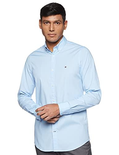 Tommy Hilfiger Core Stretch Slim Poplin Shirt Chemise Casual, Homme, Bleu Blue 474), Medium...