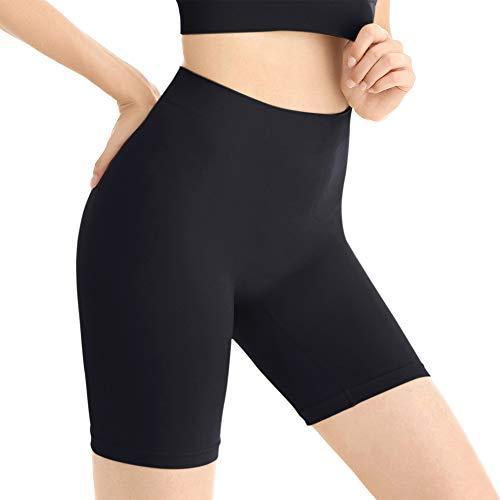 Amazingjoys Slip sans Couture Shorts Culotte sous-vêtement sous Robe pour Femmes,Noir,Taille XL