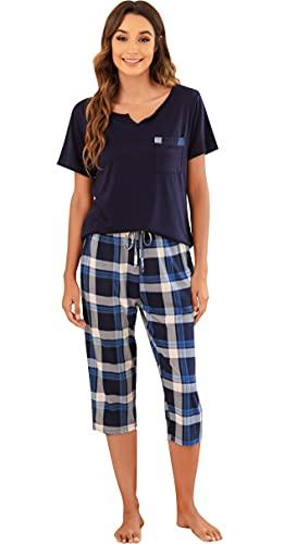 Vlazom Pyjama Femme Court d'été Ensemble de Pyjama Manche Courte 3/4 Carreaux Pantalon Doux et Confortable 2 Pièces Vêtements De Nuit pour Femme,M,A-Bleu Marin