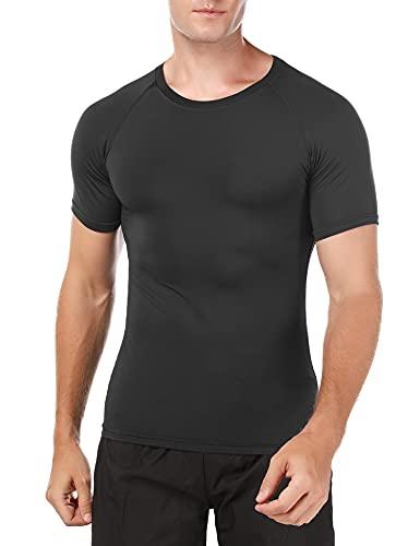 Wayleb T-Shirt Compression Homme Manche Courte Respirant Haut et Tee Shirt Homme Sport Running Séchage Rapide Serré T-Shirts et Tops de Sport Homme Col Rond pour Fitness Gym Jogging
