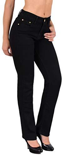 ESRA Jean Femme Droit Pantalon Taille Haute Jeans Stretch Femme High-Waist Grandes Tailles G300