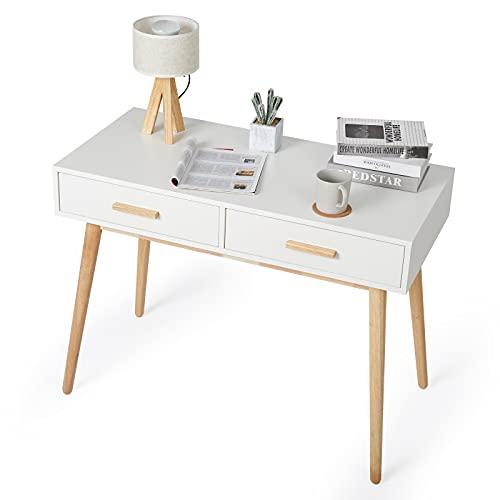 Meerveil - Bureau d'Ordinateur - Table Informatique en Bois avec 2 Tiroirs Style Scandinave pour Bureau Salle d'Etude 100 x 48 x 75 cm, Blanc