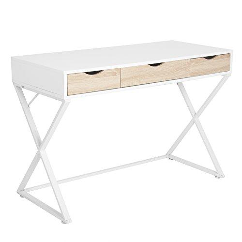 WOLTU TS40ws Bureau Table 110x50x75 cm avec 3 tiroirs,Bureau d'ordinateur Table de Travail en MDF et Acier,Blanc