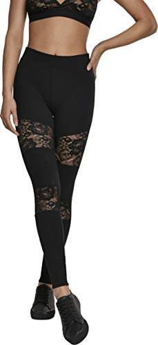 Urban Classics Ladies Laces Inset Leggings Femme, Noir (Black 00007), XL