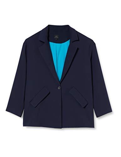 Armani Exchange Textured Twill Blazer décontracté, Blueberry, 6 Femme