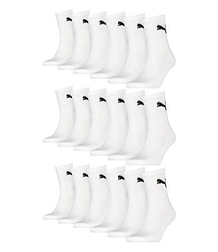 Lot de 12chaussettes de sport Puma - Courtes - Avec semelle, Mixte, White, 39-42