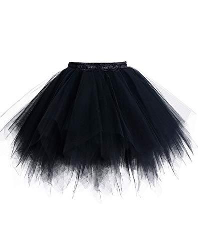 Timormode Tutu Dance Classique Jupe Ballet Courte en Tulle Jupon pour Robe Vintage Couleurs Variées LXQCABlack XL