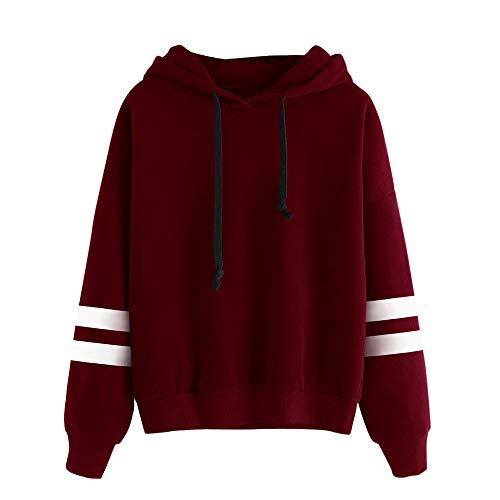 Sweat à Capuche Femme, Sweatshirt Hoodies Pull en Coton à Manches Grande Taille Veste de Sport avec Poches Longues Tops Blouse Shirt Streetwear (Rouge, M)