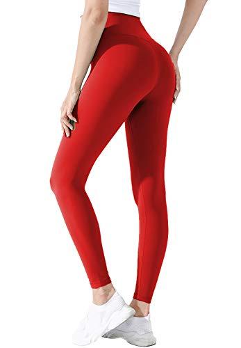 INSTINNCT Legging Sport Femme Push Up Pantalon Extensible Taille Haute Amincissant Collant Legging Confortable pour Yoga Gym Fitness #2 Rouge Basique S