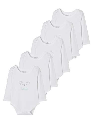 Vertbaudet Lot de 5 Bodies Pur Coton bébé imprimé Manches Longues Blanc 9M - 71CM
