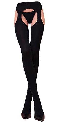WOOTI Collant porte-jarretelles incorporé MESSICANA 100 den, couleur Noir, taille M/l, Sexy, élégant, confortable, chaud, doux, résistant, in microfibre, opaque